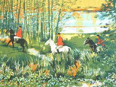 Pair of English autumnal horse hunting scene handprinted cotton fabric curtain panels - mid century 50s 60s vintage / Paire rideaux tissu coton imprimé main chasse à cour - vintage années 50 60