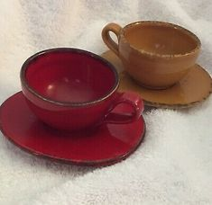 Pair VTG Vietri Espresso Cups DEMITASSE Saucers Red Yellow Rare Cucina Fresca | eBay Espresso Cups, Coffee Cups, Tea Cups, Grey Cup, Italian Pottery, Mug Cup, Casserole Dishes, Cup And Saucer, White Ceramics