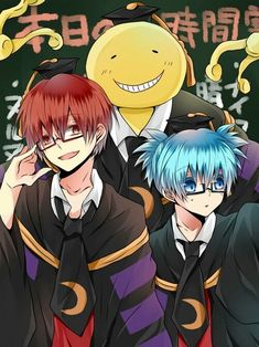 Koro sensei with Karma Akabane and Nagisa Shiota from Assassination Classroom