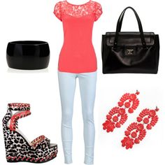 """""""Coral Cheetah"""" by lizzie-boyette on Polyvore"""