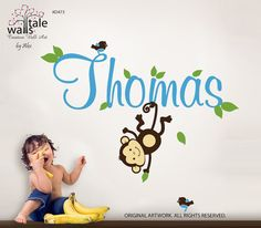 Monkey wall decal with name and little birds for door wallstaledecor, $48.00