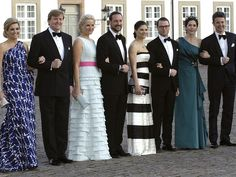 Maxima with Willem, with Haakon and Mette Victoria with Daniel at the birthday of Queen Margrethe of Denmark.