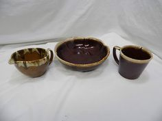 MCCOY    &    ANOTHER OF AN UNKNOWN BRAND!    A MIXTURE OF THREE (3)!    BROWN!  DUE TO THE FACT THAT THESE PIECES ARE NOT IN PERFECT CONDITION, THEY COULD BE PUT TO GOOD USE BY REPURPOSER! THESE WOULD BE GREAT FOR REUSING FOR SOMETHING OTHER THAN THEIR ORIGINAL INTENTION!