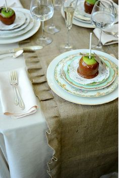 Carmel Apple place settings atop mismatched china!