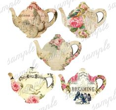 INSTANT DOWNLOAD  Pretty Teapots   Printable by CountryAtHeart2008