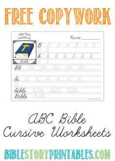 Free Bible ABC Copywork Cursive