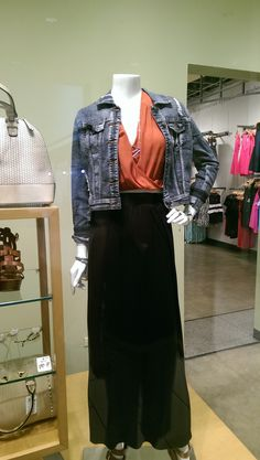 Pair this Orange Rust Sheer Kimono Crop Top with a denim and black skirt, all from @windsorstore.  #OITNB.