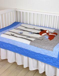Fox Blanket Woodland Nursery Quilt Baby Boy by Customquiltsbyeva