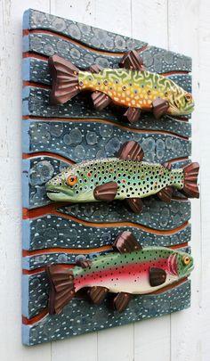"Three of Rachel's fun fish sculptures in one 18"" x 24"" piece. Folk Art Vermont   Fish Art   Rachel Laundon"