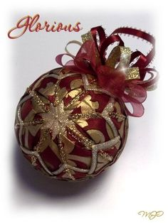 Glorious- Burgundy and Gold Unique Handmade Keepsake Quilted Christmas Ornament