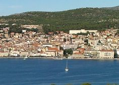 Šibenik cityscape from St. Anthony's channel. Fort Barone and Antun Vrančić Gymnasium can be seen