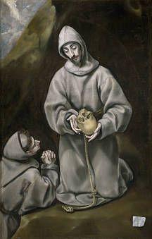San Francisco de Asís y el hermano León meditando sobre la muerte
