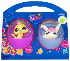 Littlest Pet Shop 2Pack Easter Eggs Bird Bunny by Hasbro. $8.95. Littlest Pet Shop 2Pack Easter Eggs Bird Bunny. Celebrate spring with two adorable friends! These cute chick and bunny pets are already springtime favorites, but in their pretty egg accessories, theyre also perfect Easter basket gifts. Cut out the egg stand on the back of the package and youll have petthemed places to put your own decorated eggs!  Includes Pets # 1893  1894