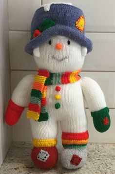 Large Knitted Large Snowman Doll / Soft Toy 'Mr Twizzle' / Christmas Gift (ALL proceeds to the Cystic Fibrosis Trust) by Jules4CF on Etsy