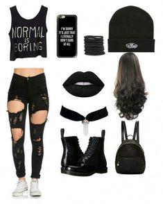 Normal is boring ❤✌ roupas góticas, roupas pretas, roupas top, roupas bonitas Cute Emo Outfits, Bad Girl Outfits, Teen Fashion Outfits, Teenager Outfits, Edgy Outfits, Swag Outfits, Grunge Outfits, Outfits For Teens, Summer Outfits