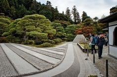 "Tiigra posted a photo:  This is a karesansui garden (dry garden) called Ginshaden or the Sea of Silver Sand, created later than the Silver Pavilion, in the Edo period (1603-1868). The ""garden"" consists of a two-foot-high platform of sand that covers 0.71 hectares (1.75 acres) that is meant to be viewed as a sea, though the lines are far too straight and perfect to create such a clear illusion.  Next to the sea of sand is a cone-shaped structure 2 m high. It is Kogetsu-dai, (Moon-viewing…"
