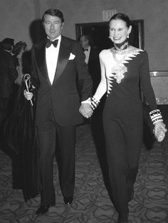 Gloria Vanderbilt and husband, the late Wyatt Cooper in NYC in 1972.  After fifteen years of marriage, and two children, Wyatt Cooper died at age 50 during open heart surgery. Her son, Anderson Cooper, is a television journalist.,