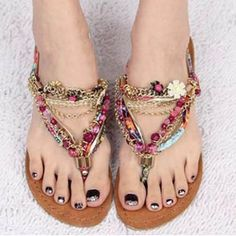 Free Shipping Fashion women's shoes bohemia diamond beaded pinch flat sandals rhinestone flip flop flat heel sandals boho