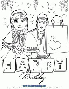 Anna And Kristoff Happy Birthday Coloring Page