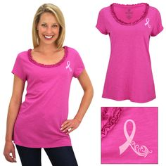 Supporting the cause is your top priority, but that doesn't mean fashion should go on the back burner! Introduce ladylike charm to your ensemble with the lovely ruffles on this classic pink ribbon tee. MADE IN USA
