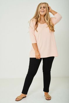 Amina Round Neck Sleeve Blouse Top A round neck design styled with sleeves blouse top, finished in a light pink tone and tie at back detailing. This casual sleeve blouse top is a stylish classy pink tone top with a round neck finish. Tall Clothing, Size Clothing, Women Legs, Plus Size Outfits, Peach, Tunic Tops, Clothes For Women, Sleeves, Fashion Design