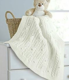 Cables and Bobbles Blanket - Aran Irish Tweed - This place winner is designed by Izabella Tichy. A soft and snuggly blanket for your baby. Shown in Aran Irish Twist. Knitted Afghans, Knitted Baby Blankets, Baby Afghans, Baby Blanket Crochet, Afghan Patterns, Baby Knitting Patterns, Baby Patterns, Crochet Patterns, Irish Baby