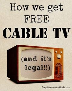 My friends always ask me how we get FREE (legal) cable. I send them to this post. Also has links to Netflix, Hulu, etc. Great resource for college kids or those on a budget.