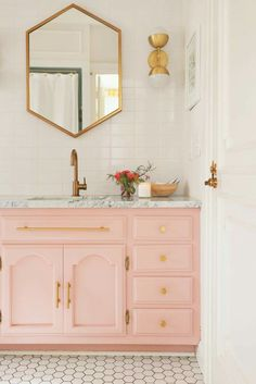 Home Interior Loft Elsies Guest Bathroom Tour (Before After) A Beautiful Mess.Home Interior Loft Elsies Guest Bathroom Tour (Before After) A Beautiful Mess Home Staging, Pink Vanity, Mirror Vanity, Pink Mirror, Painted Vanity, Vanity Decor, Vanity Cabinet, Dresser Vanity, White Vanity