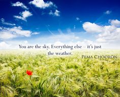 You are the sky. Everything else – it's just the weather. Pema Chodron