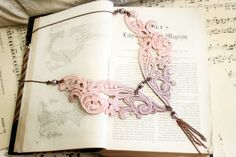 lace necklace PALOMA ombre gray mauve by tinaevarenee on Etsy, $42.00