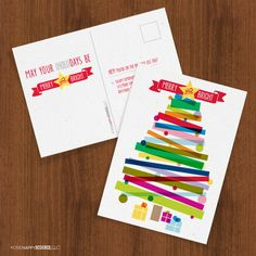 Merry & Bright Christmas tree post cards