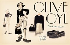 """Vintage style by olive oyl. Olive said """"Rock the Boat"""" Popeye Olive Oyl, Vintage Outfits, Vintage Fashion, Vintage Style, Popeye The Sailor Man, Olive Oil Hair, Personal Style, Boat Fashion, Illustration Art"""