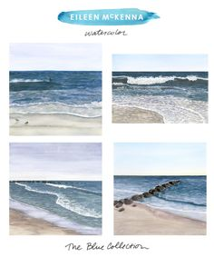 The Blue Collection by Eileen McKenna   watercolor beach ocean landscapes available as limited edition giclee art prints