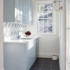 Modern Blue Butler Pantry Cabinets with Blue Dot Backsplash