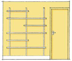 A arquiteta Ana Luiza Sawaia sugeriu essa versão para a parede da porta: a superfície foi preenchida – do rodapé até a altura da porta – por uma estante montada com trilhos metálicos e três prateleiras de 1,35 x 0,30 m e três de 70 x 30 cm, formando uma composição assimétrica. (Revista Minha Casa. ed. Agosto/2012)
