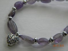 """Lavender amethyst n silver heart necklace.Silver heart and beads with amethyst stones.16"""" lengthlobster claw clasp.AnniversaryGradGirls. by SantaFeCollection for 25.00 USD"""