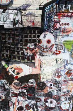 Kinki Texas (Karl Kolthoff) - Crowd and Proscriptor Creepy Images, Creepy Art, People Illustration, Illustration Art, Arts Ed, Dark Fantasy Art, Aboriginal Art, Outsider Art, Horror Art
