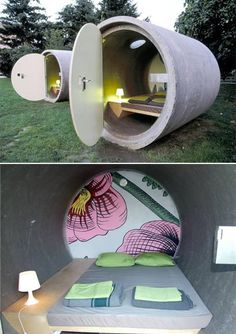 A hotel with rooms made of giant concrete sewage pipes might sound a little odd, but this artistic creation can be recreated to provide cheap lodging anywhere. I remember playing in these things on the playground as a kid - minus the doors and bed and all.