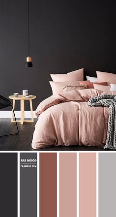 This bedroom mixes a romantic feel. The gorgeous color palette of charcoal and mauve pink — Here, it shows off its feminine side of... Bedroom Colour Palette, Bedroom Wall Colors, Bedroom Color Schemes, Room Ideas Bedroom, Home Decor Bedroom, Bed Room, Pink Gray Bedroom, Purple Bedrooms, Gold Bedroom