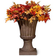 "Pre-Lit Autumn Sunflower Urn Filler-24"" ($40) ❤ liked on Polyvore featuring home, home decor, holiday decorations, grape vine wreath, battery operated wreath, fall grapevine wreaths, fall home decor and grapevine wreath"