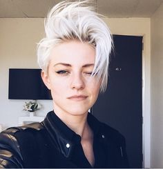 Platinum Pixie Haircut For Thin Hair By constantly changing their looks ladies attempt to trick time and to make mature age forget about them. Short White Hair, Short Hair Cuts, Short Hair Styles, Short Bleached Hair, Pixie Bob, Hipster Hairstyles, Girl Hairstyles, Short Punk Hairstyles, Punk Pixie Haircut