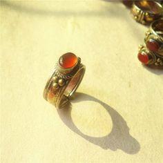 R253 Nepal Rosa Con Incrustaciones de Cobre Anillo de Ágata Roja Natural de La Vendimia anillos abiertos de la Joyería Nepal Mano