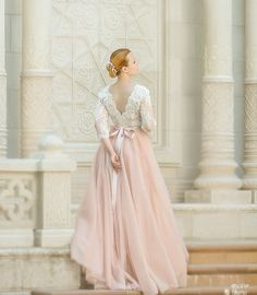 Pink wedding dress tulle wedding dress long by AnnaSkoblikova