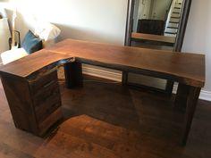 Custom black walnut desk by Corner Desk, Woodworking, Projects, Furniture, Black, Home Decor, Woodwork, Log Projects, Homemade Home Decor