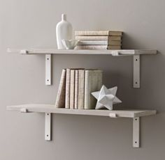 RH Baby & Child's Industrial Plank Shelf & Brackets Set:Our industrial-inspired shelf eschews ornamentation, calling attention instead to the natural beauty of its materials and inherent functionality of its design.