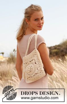 "Crochet DROPS bag with plaited shoulder strap in ""Paris"". ~ DROPS Design"