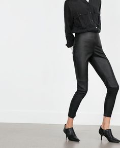 Image 4 of FAUX LEATHER LEGGINGS from Zara