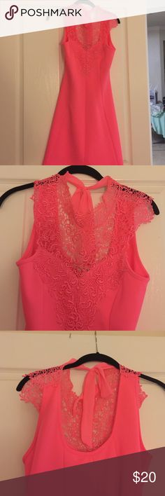 Pink Lace Summer Dress size L Never worn dress! Lace detail on the front and open back! Super flattering and perfect for a spring party! Looking to make more space in my closet so open to offers :) Dresses Midi