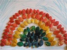 rainbow made out of pumpkin seeds