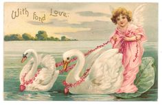 Ellen Clapsaddle Valentine - Angel Being Pulled by Two Swans